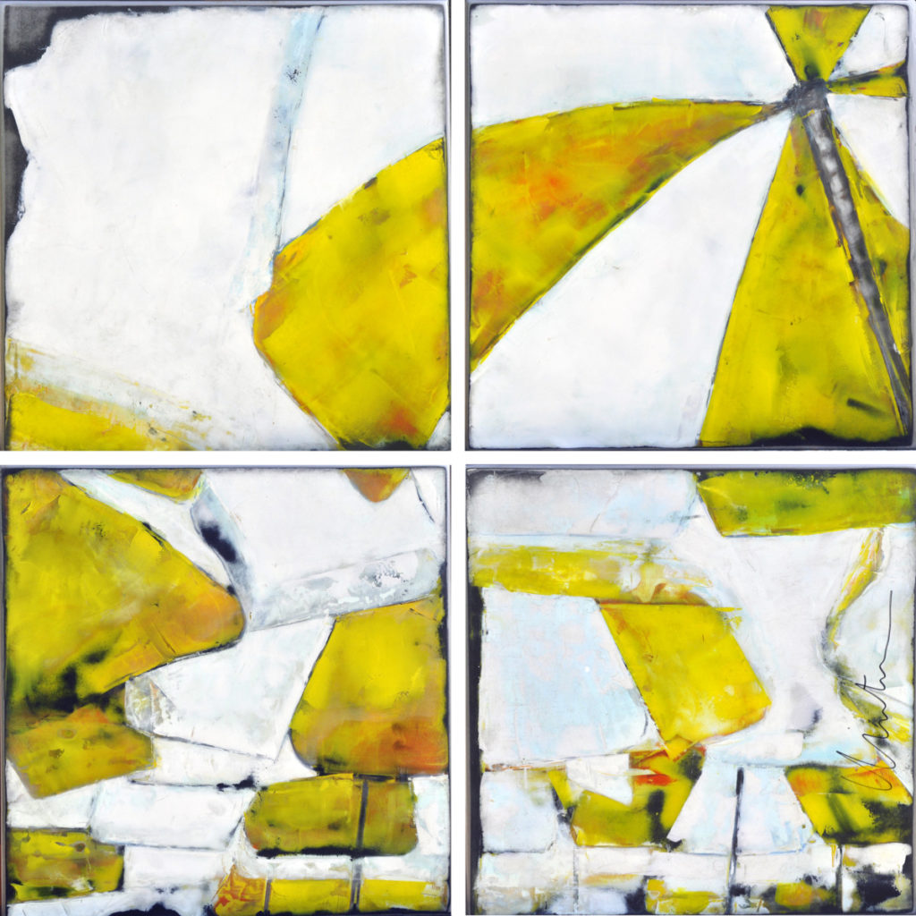 Abstraction Jaune - 90 x 90 cm (4 x 42 cm)