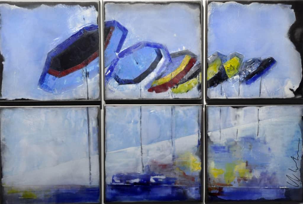 Parasols et reflets - 90 x 150 cm (6 x 42 cm)